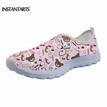 купить INSTANTARTS Nursing Sneakers Women Casual Air Mesh Flat Shoes 3D Cute Cartoon Nurse Bear Design Woman Summer Slip-on Flats Mujer дешево