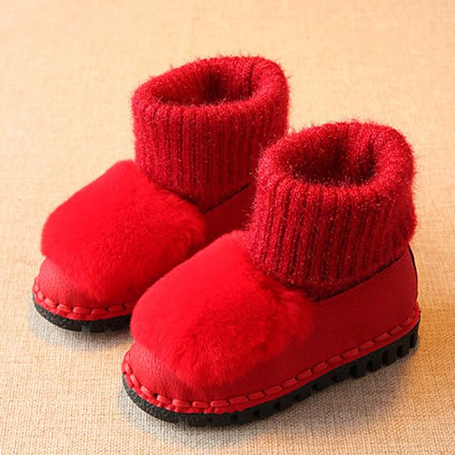 2017 de invierno de la felpa botas de nieve niñas niños botas térmicas de piel kids warm shoes calzado botas de moda bebé