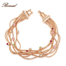 Romad Bracelet For Women Rose Gold Color Multi layer Bracelet Chain Women Bangle Body Jewelry Party