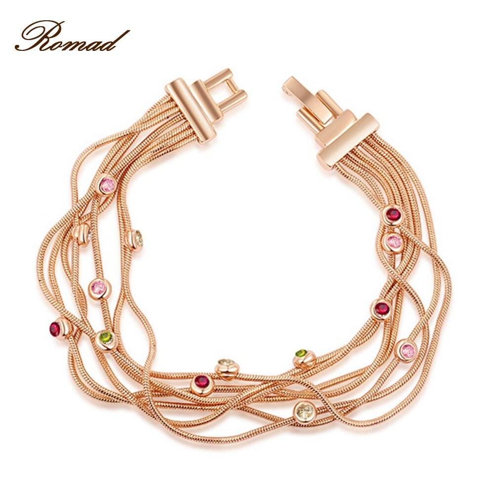 Romad font b Bracelet b font For Women Rose font b Gold b font Color Multi