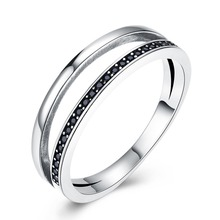 GOMAYA 925 Trend Ring Personality Sterling Silver Retro Style Inlaid Black Zirconium For girls Romantic party