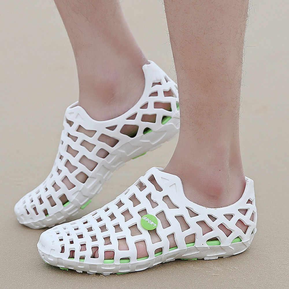MUQGEW Frauen Sandalen Schuhe Frau LÖCHER LÖCHER Paar Anzug Unisex Sandalen Frauen Klassische Casual Schuhe Paar Strand Flip-Flops Schuhe