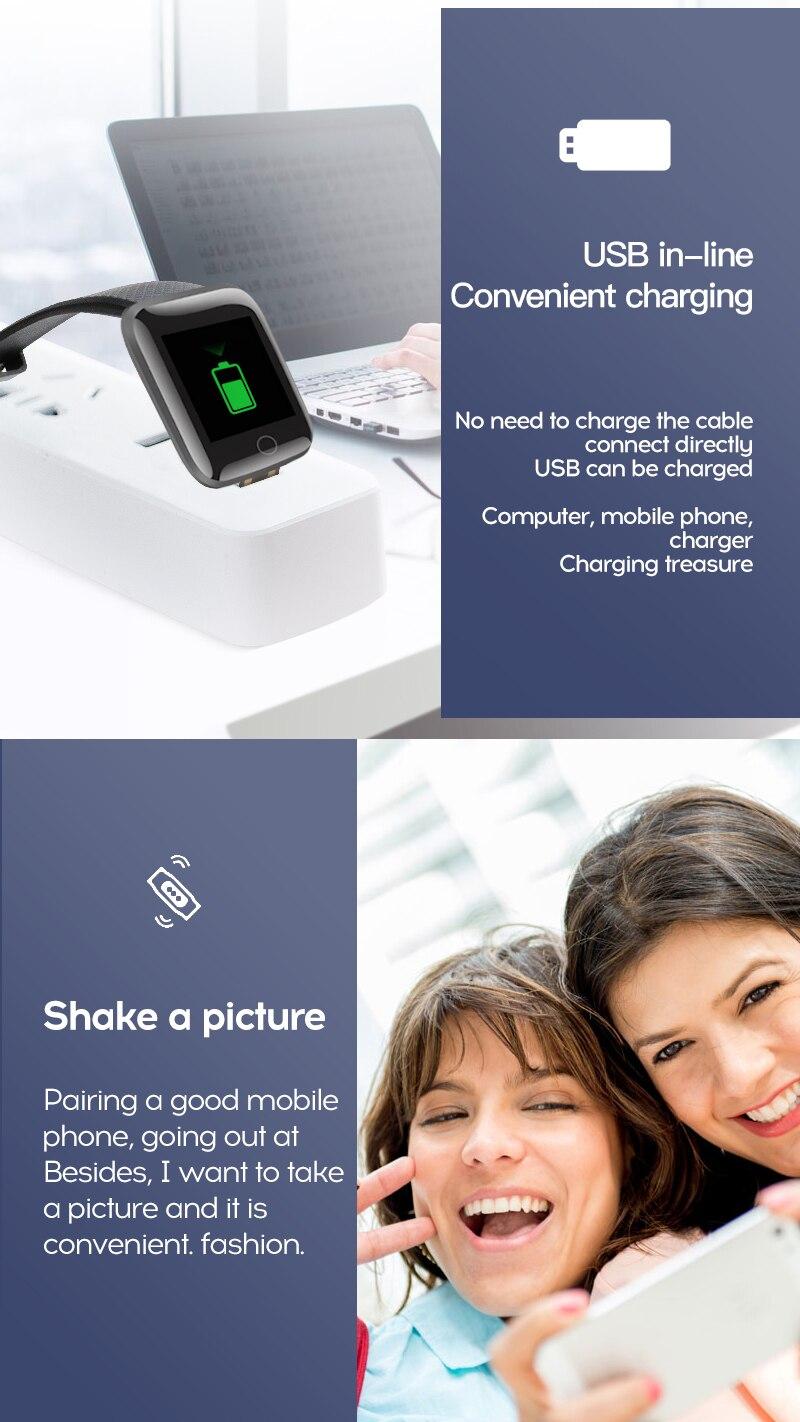 Watch bracelet Fitness smart 116 Plus blood pressure, waterproof