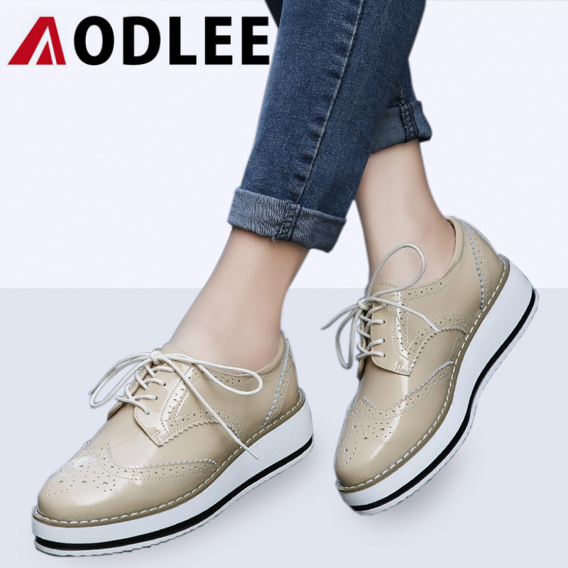 AODLEE Brand Spring Women Platform Shoes Woman Brogue Patent Leather Shoes Lace Up Footwear Female Flats Oxford For Women Shoes 2018 platform shoes woman thick heels oxford shoes for women patent leather creepers casual oxfords spring flats women shoes