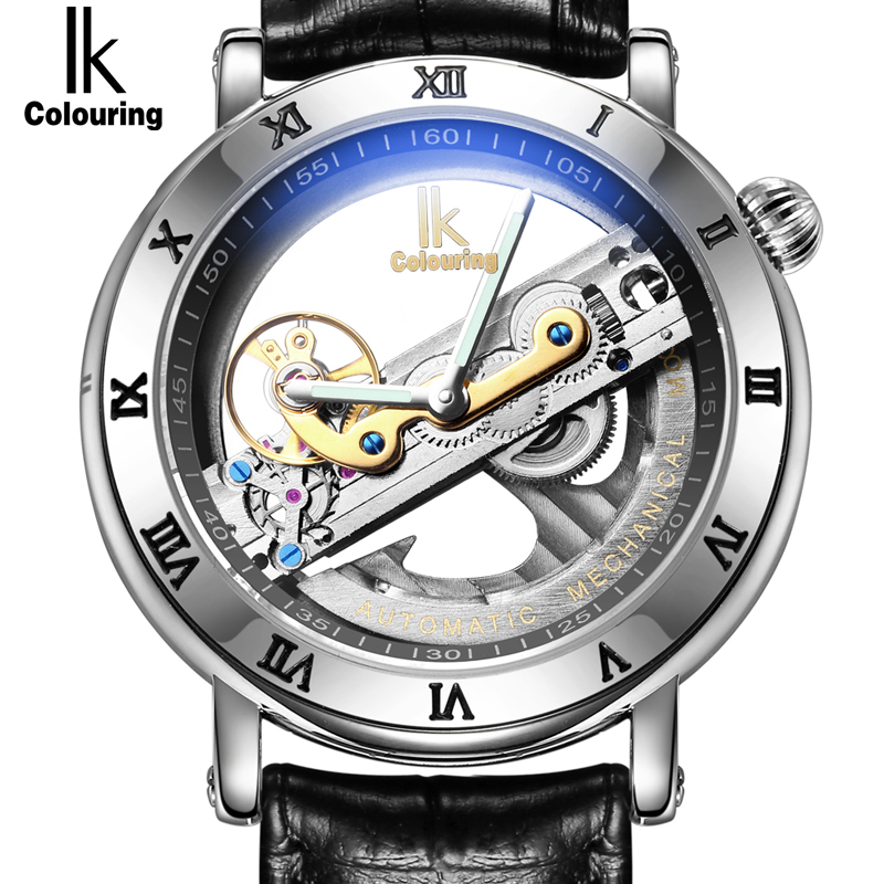Genuine Ik Colouring Creative Hollow Automatic Mechanical Watch New Design Watches steel Brand Men Skeleton Relogio Masculino k colouring women ladies automatic self wind watch hollow skeleton mechanical wristwatch for gift box