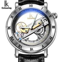 Auténtico Ik Colouring Hollow Reloj Mecánico Automático Nuevo Diseño Creativo Relojes de Marca Hombres Esqueleto de acero Del Relogio masculino