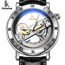 Genuine Ik Colouring Creative Hollow Automatic Mechanical Watch New Design Watches steel Brand Men Skeleton Relogio Masculino