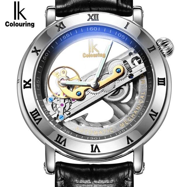 4e957931d8b Genuine Ik Colouring Oco Criativo Relógio Novo Design Relógios de Marca  Homens de aço Esqueleto Mecânico