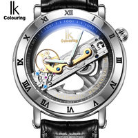 IK Automatic Mechanical Watches Men Brand Luxury Rose Gold Case Genuine Leather Skeleton Transparent Hollow Watch