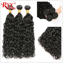 RXY Peruvian Curly Hair Water Wave Bundles Wet and Wavy Human Hair Double Weft Remy Human Hair Extensions Full Head 10''-28''
