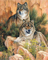 3D DIY Diamond Painting Cross Stitch Animals Icons Diamonds Mosaic Icon Diamonds Embroidery Wolf Couple Picture