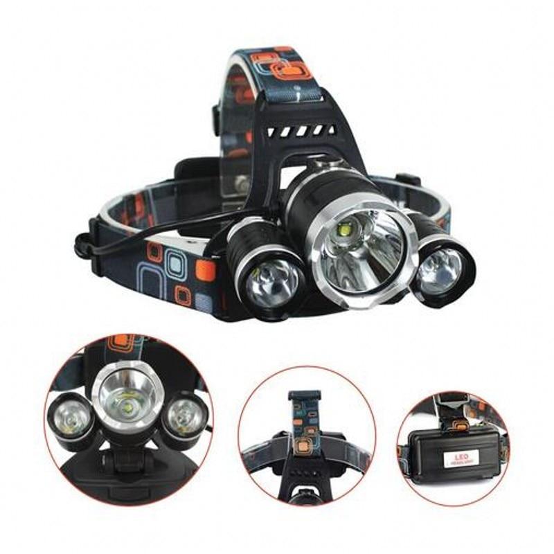 New Headlight XM-L 3XT6 LED Head Light 4 Modes Headlamp Lantern Hunting Bicycle Head Flashlight+Car AC Charger+Battery+USB cable 3