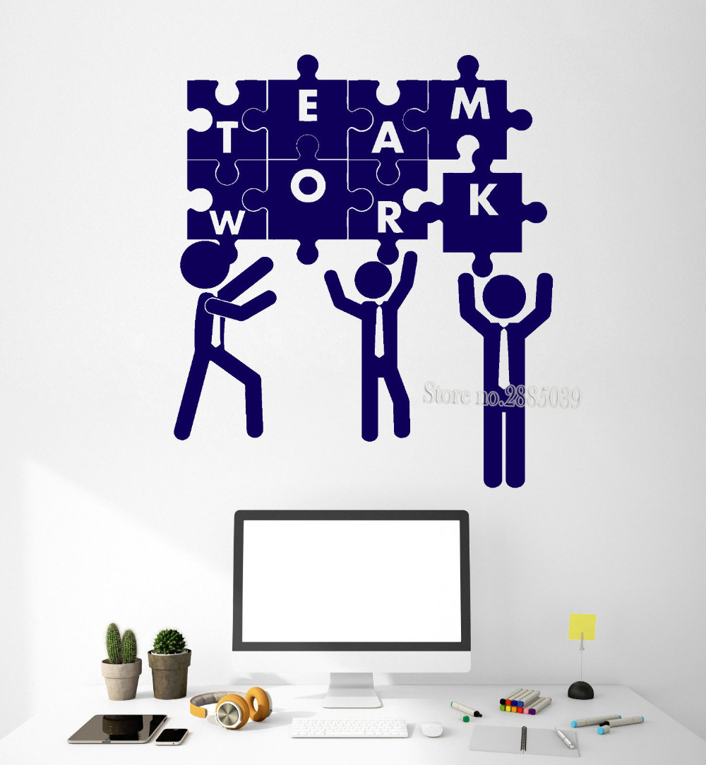 Us 7 97 25 Off Modern Art Diy Wall Decals Quotes Teamwork Puzzle Office Decoration Team Building Stickers Vinyl Removable Wallpapers New La442 In