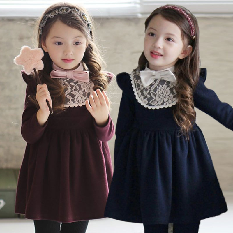 free shipping Winter Girl warm Dresses baby Girls dresses Children kids Red Blue tight dress