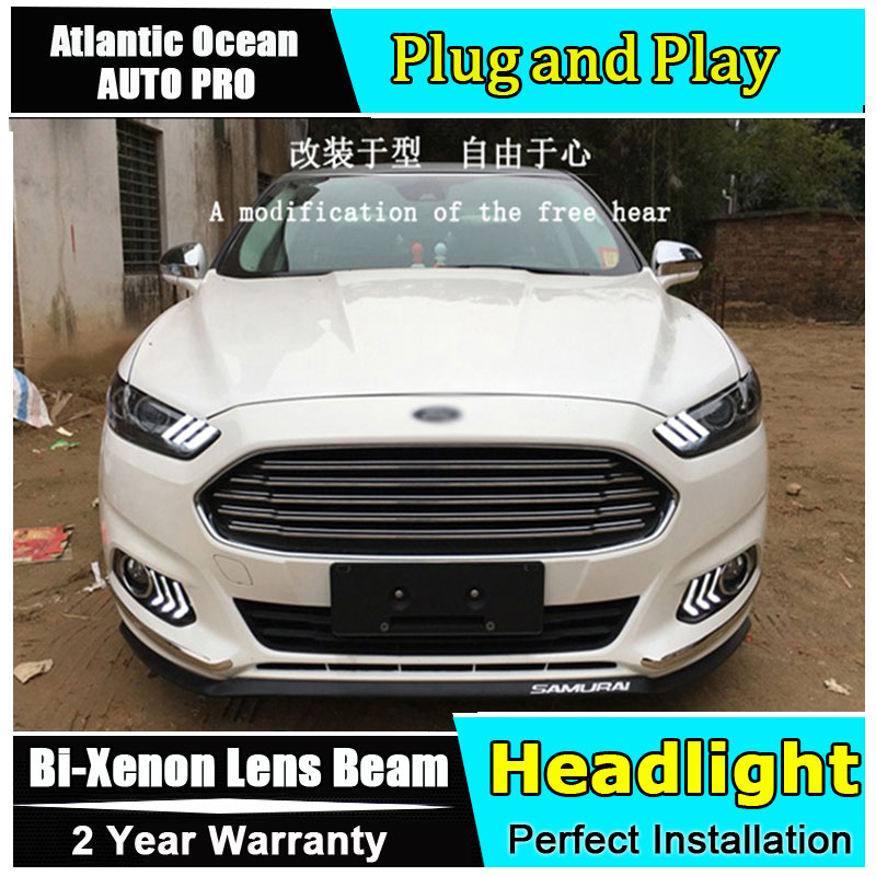 Auto.Pro Car Styling for 2013-2015 Ford Mondeo Headlights Mustan LED Headlight DRL Lens Double Beam HID Xenon bi xenon lens hireno headlamp for hodna fit jazz 2014 2015 2016 headlight headlight assembly led drl angel lens double beam hid xenon 2pcs