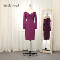 Gardenwed Purple Knee Length Homecoming Dress 2019 Sexy V Neck Long Sleeves Short Lady Party Prom Evening Mother Dress Gown