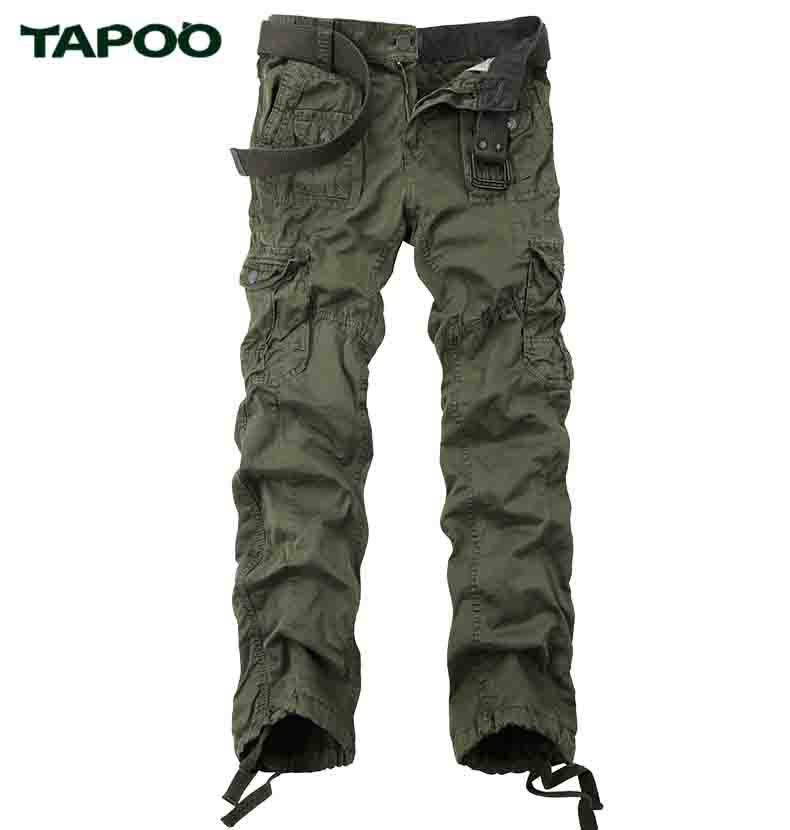 TAPOO Men's Casual Pants Solid Full Cargo Pants With Autumn Winter Cotton High High Quality Casual Pants