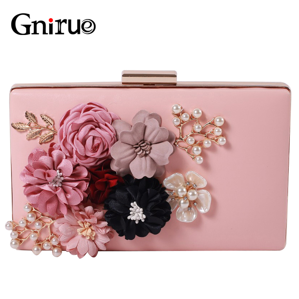Flowers Beaded Women Evening Bags Pearl Appliques Day Clutch Bags Fashion Shoulder Bag Lady Party Wedding Handbags Purses