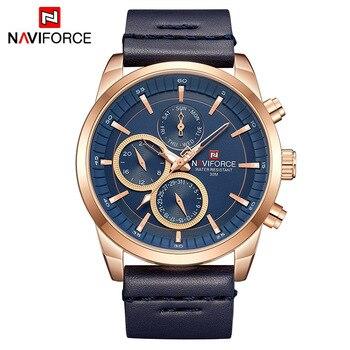 Mens Watches NAVIFORCE Top Brand Luxury Waterproof 24 hour Date Quartz Watch Man Fashion Leather Sport Wrist Watch Men Clock 9