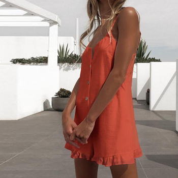 Summer Playsuits Women Jumpsuit Short Cotton Linen Casual Ruffles  strap boho Sexy Rompers Overalls Playsuit Mujer 4