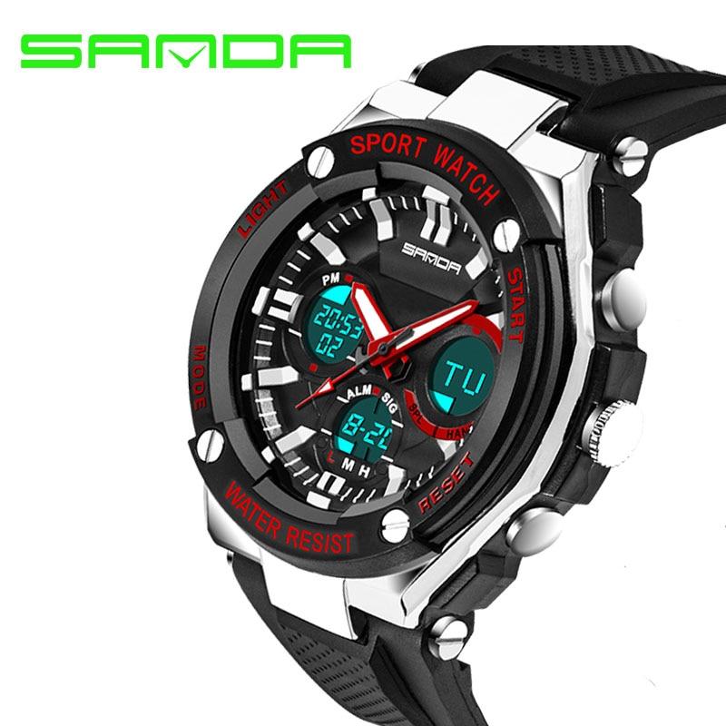 SANDA Brand Luxury Watch Men Shock Resistant Electronic Quartz Alarm Digital Watch Male Clock Men Wrist Watch relogio masculino