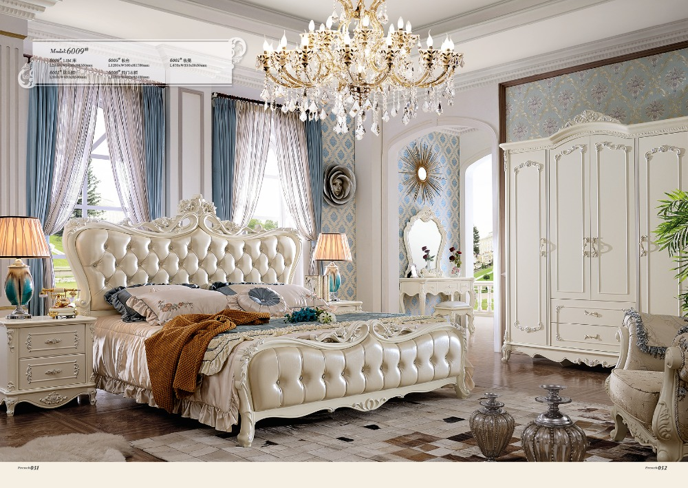 2016 Rushed King Muebles Para Casa Bedroom Furniture New Princess Soft Bed Continental Carved French Height Box Leather Prince