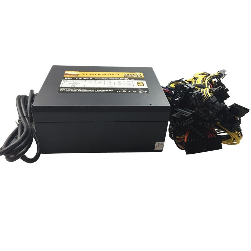 T. F. SKYWINDINTL 1800 W Asic bitcoin alimentation 1800 W ETH alimentation ATX Machine d'extraction prend en charge 8 cartes GPU pour BTC Antiminer