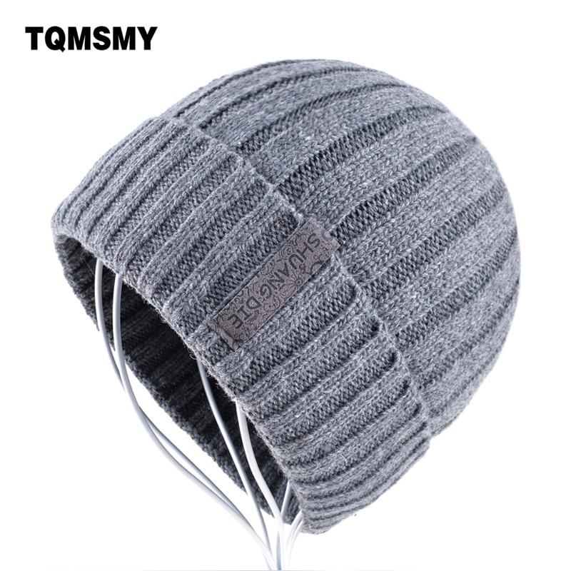 Warm halten gorro Winter Hüte für Männer Stricken wolle Beanie frauen Beiläufige Kappen der männer Mützen Plus samt knochen Solide farbe Skullies