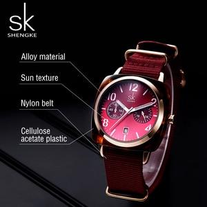 Image 5 - ساعة يد على الموضة من Shengke للنساء مزودة بحزام من النايلون ساعة يد كوارتز للسيدات إصدار جديد 2019