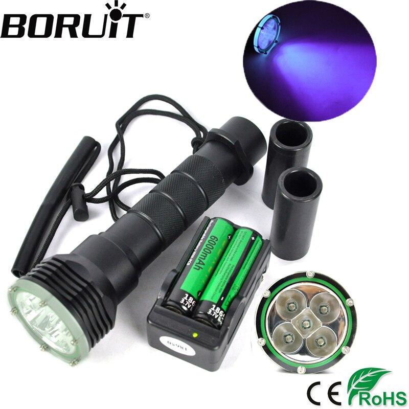 BORUiT 20 w XM-L2 LED Plongée sous-marine lampe de Poche Sous-Marine 50 m Flash UV 390nm Violet Torche Diver Portable Lanterne 18650 batterie