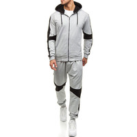 Men Clothing Set Zipper Hodded Sweatshirt + Patchwork Long Pant Sports Sweat Suit Trousers Outfit Jogging Tracksuit Set