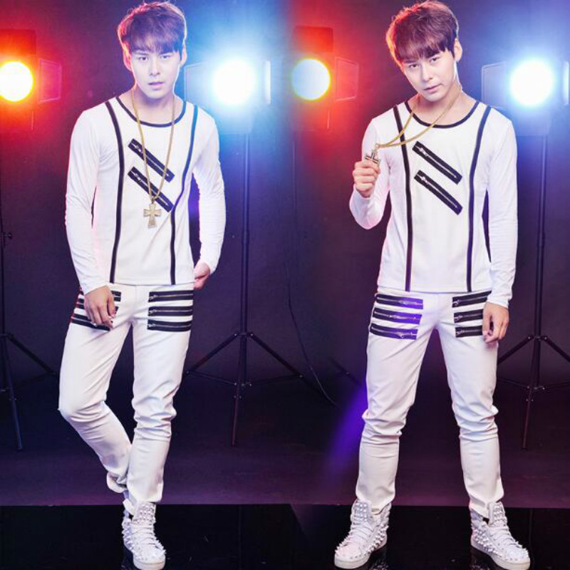 DS men's DJ costumes men's tide (shirt + pants) partial leather singer bar nightclub stage costumes slim long sleeved T shirt - 4