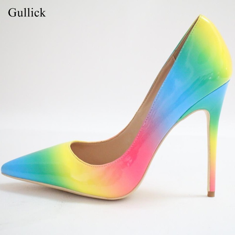 New Arrivals Rainbow Printed Leather Pumps For Women Pointed Toe 12CM High Heel Dress Shoes Slip-on Spring Autumn Office Shoes 2018 spring autumn new lace flower wedding shoes slip on round toe bridal shoes high heel women pumps shallow pointed toe 8 5cm