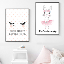 Rabbit Good Night Quote Wall Art Canvas Painting Salon Nordic Posters And Prints Animal Wall Pictures Kids Room Baby Room Decor wall art canvas paintings good morning good night bedroom prints black white pictures poster gift kids room decorative