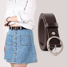 HATCYGGO Belt Female Soft Faux Leather/Black Belts For Women Casual Circle Silver Pin Buckles Waistband Ladies Jeans