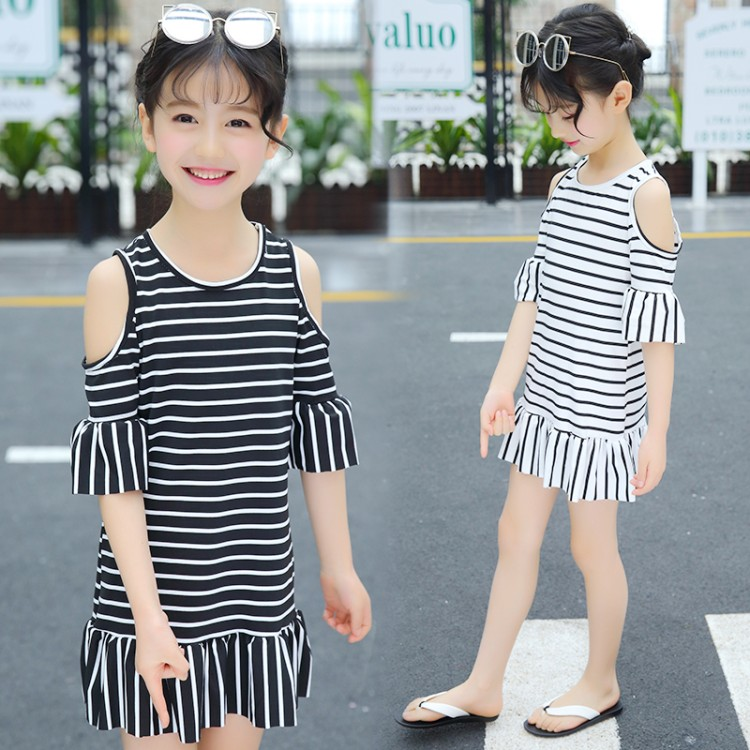 Logical Little Girl Stripe Dress Kids Girls Summer Casual Dresses Infant Clothing For 3 4 5 6 7 8 Years Old Printed School Baby Costume Mother & Kids