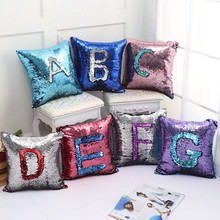 DIY Mermaid Sequins Mini Cushion Cover Magical Colorful Throw Pillow Case Two Color Changing Reversible Linen