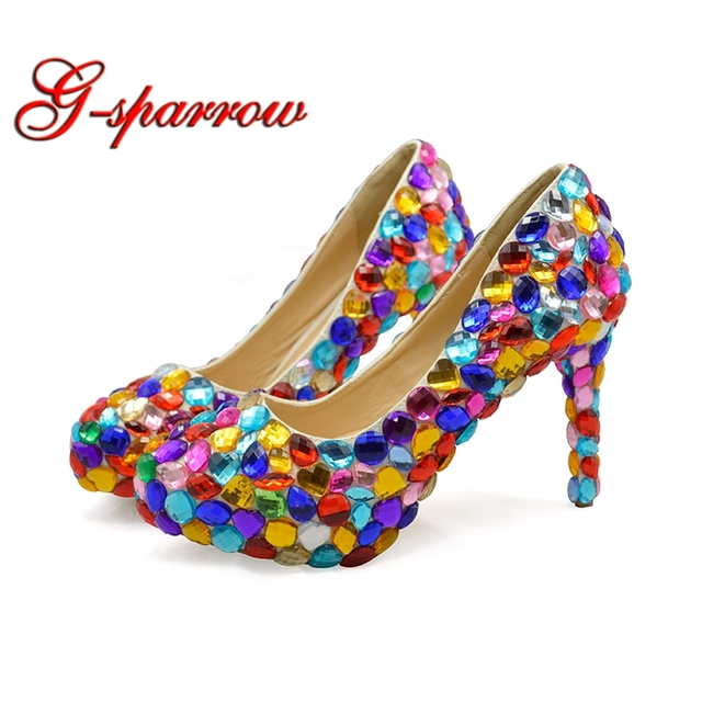 Customized Woman Multi Colored Rhinestone High Heels Pink Red Wedding Dress  Shoes Fashion Lady Evening Party Dancing Pumps 27dcc1b56c01
