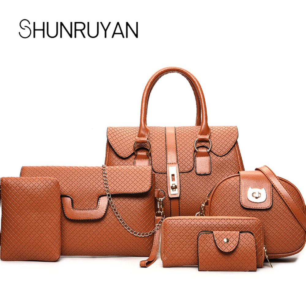 SHUNRUYAN Coofit Luxury Composite Bag Set Women Chic Tote Handbag High Quality Leather Shoulder Bags Pouch Wallet Bag Set  SHUNRUYAN Coofit Luxury Composite Bag Set Women Chic Tote Handbag High Quality Leather Shoulder Bags Pouch Wallet Bag Set