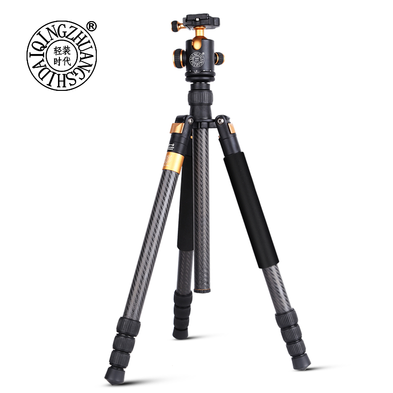 цена на QZSD Q968C tripod carbon fiber tripod stand with monopod dslr camera tripie &ball head with 1/4 screw and quick release plate