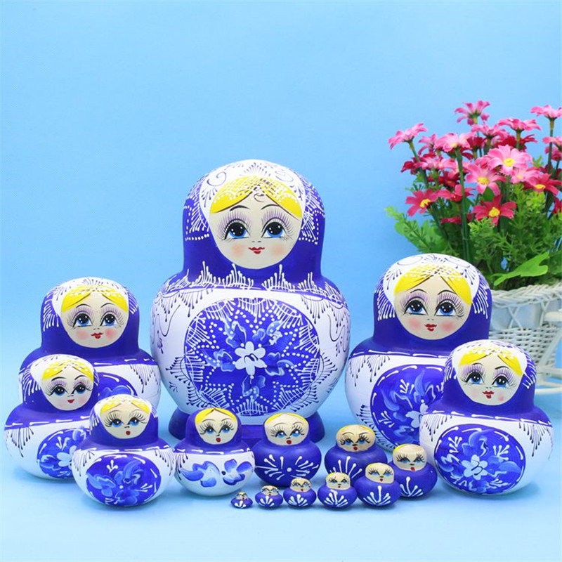 15 Layer Genuine Matryoshka Doll Blue Sky Night Fashion Dry Wood Toys Hand-Painted Paint Russian Nest Doll for Children Gift L30 blue sky чаша северный олень