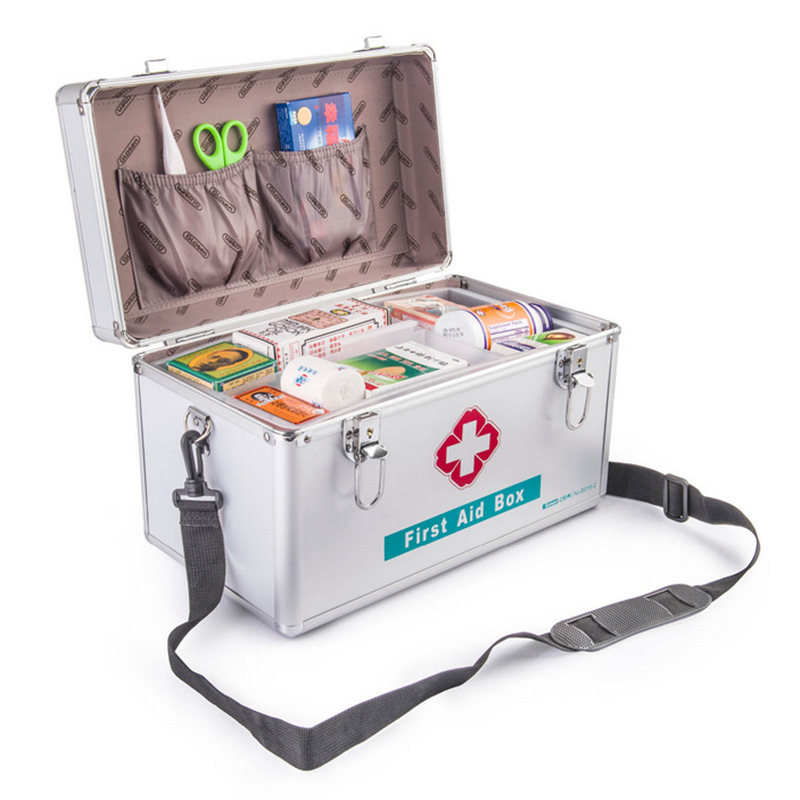 B016-3 16 pouce Ménage Portable En Alliage D'aluminium Médecine Boîte de Voyage En Plein Air Boîte De Rangement des Médicaments Clinique Médicale Trousse de Premiers soins