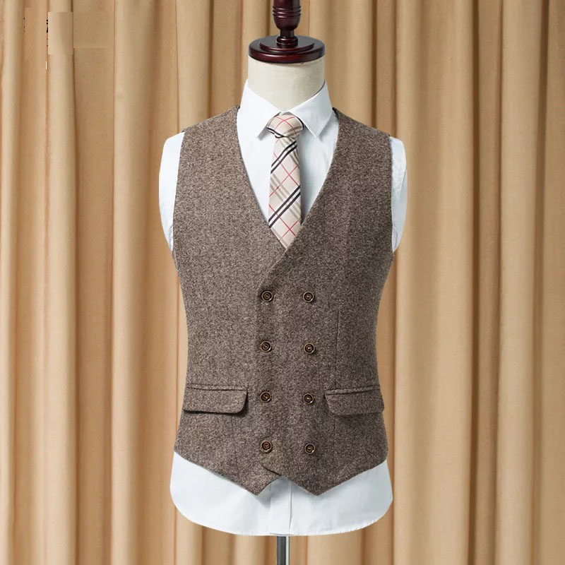 2019 kaki et marron pied de poule Tweed hommes costume gilet Slim fit gilet mode costume gilet