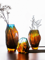 Retro Geometric Glass Vase European Creative Simple Flower Table Decoration Ornaments Handmade Blow Vase Gift
