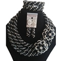 Trendy nigerian wedding african beads jewelry set Black and Silver  crystal  C632