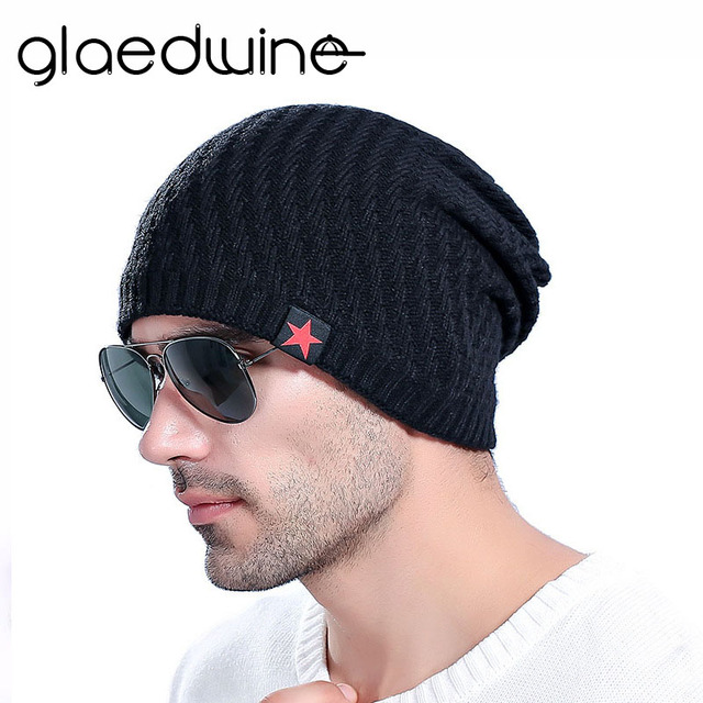 74a3df99ed6 Glaedwine New bonnet Red Star hat mens winter beanie man skullies Knitted  wool beanies men Winter