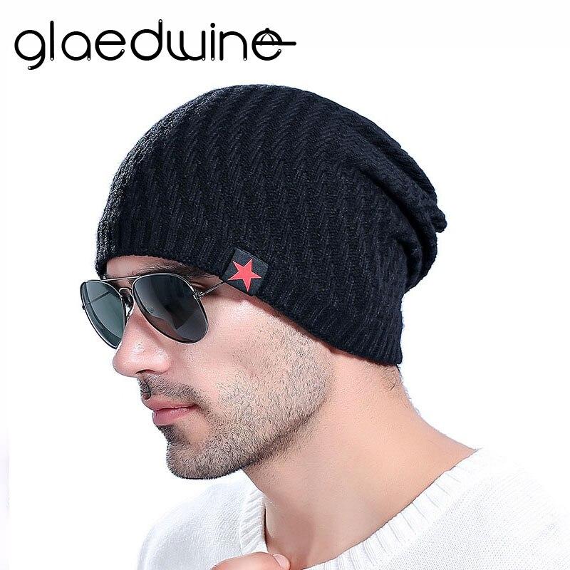 Glaedwine New bonnet Red Star hat mens winter   beanie   man   skullies   Knitted wool   beanies   men Winter Hats Hip Hop caps Autumn gorro