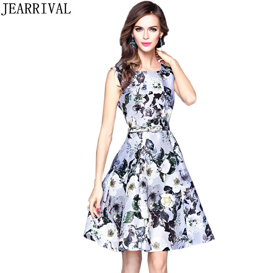 2017 Runway Summer Dress European Fashion Women Vintage Floral Print Sleeveless A-Line Party Dresses Sundress Vestidos Mujer