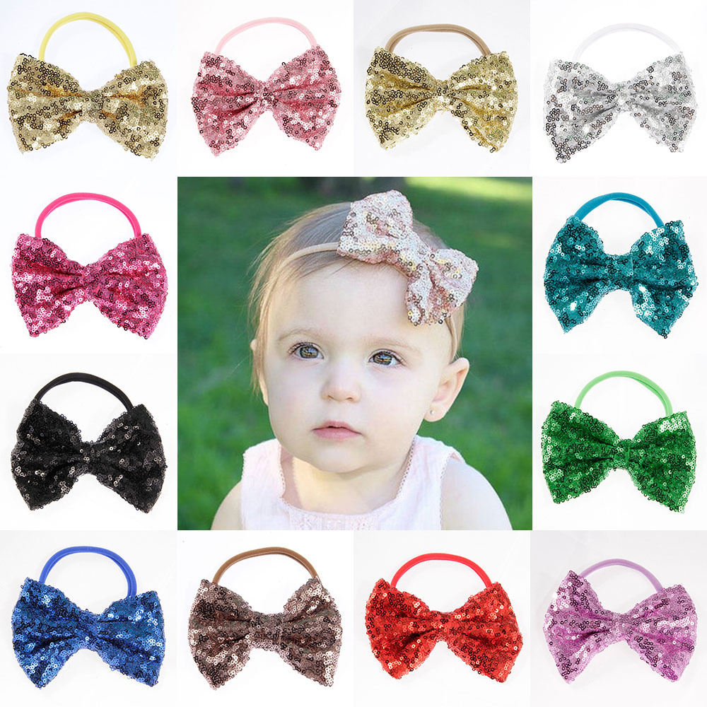 Flo Satin bow 6 Months and over Satin Ribbon Alice Hair Band with Bright Neon