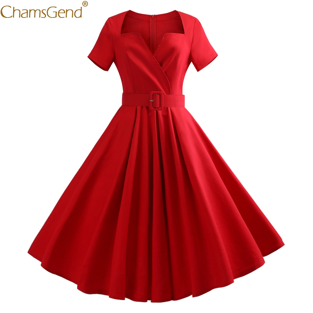 HOT SALE Women Dress Red Black Cotton Casual Women Short Sleeve Solid Evening Party Swing Dress Knee-Length Autumn Nov22